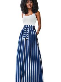 b5eb1fd7674 Синяя юбка-колокол макси длины с поясом и узором из продольных полос
