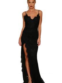 ed8b7576523bacb Быстрая доставка. Черное кружевное вечернее платье с открытой спиной и  высоким разрезом