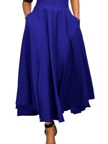 9f5e324595c Синяя расклешенная макси юбка с высокой талией и поясом-бантом в ретро стиле
