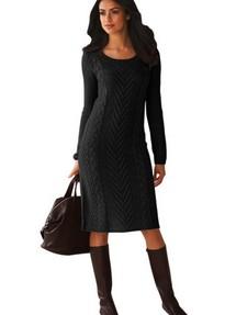 Доставим послезавтра. Черное вязаное платье-свитер с круглым вырезом 498a3c9b832