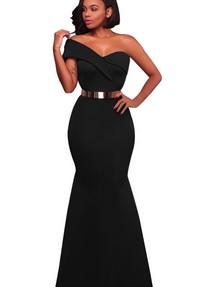 6dce0588780 Купить черное платье с одним рукавом недорого наложенным платежом в ...