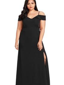 46da6ba0458 Быстрый просмотр · Черное приталенное макси платье со спущенными рукавами  ...