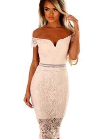 52ebc60601f Купить бежевое платье с кружевными вставками недорого наложенным ...