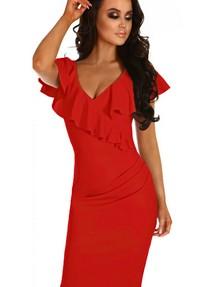 a75e7670c38 Красное платье бодикон с запахом и воланами вдоль выреза