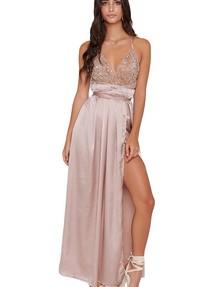 84041698871 Купить бежевое вечернее платье с открытой спиной недорого наложенным ...