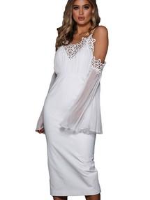 d504e60c00a6e32 Быстрый просмотр · Белое платье в стиле ампир с шифоновыми рукавами и  кружевом