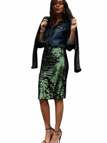 662689dad5b Зеленая юбка-карандаш в блестящих пайетках