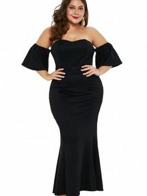 33b67863275 Быстрый просмотр · Черное платье-русалка с открытыми плечами и спущенными  ...