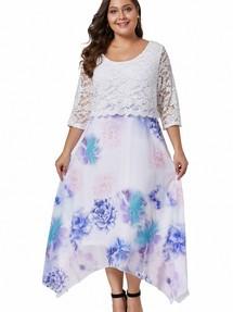 3efa3b0bf7d3779 Быстрый просмотр · Белое приталенное платье с кружевным лифом и шифоновой  юбкой с цветочным принтом