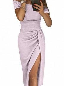84b0a697c46 Новинка. Сиреневое блестящее платье-футляр с драпированным запахом на юбке