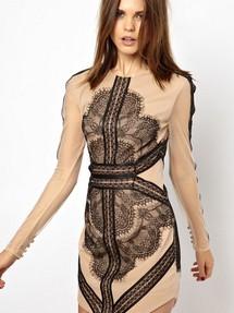 b8679b33b9e Купить бежевое платье с кружевными вставками недорого наложенным платежом в  Интернет-магазине в Москве