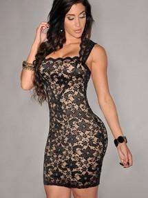 Черное платье с бежевыми вставками