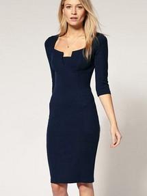 Черные платья для полных девушек в деловом стиле