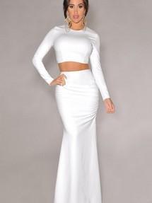 Белая юбка в пол и белый топ